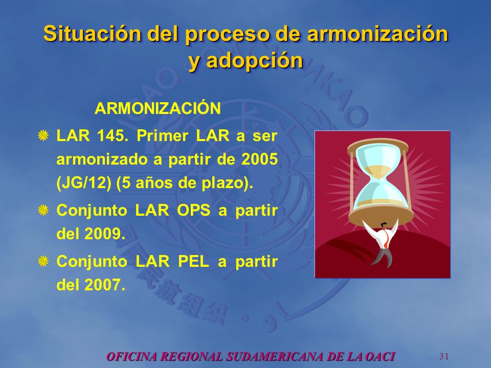 OFICINA REGIONAL SUDAMERICANA DE LA OACI 31 Situación del proceso de armonización y adopción ARMONIZACIÓN LAR 145.