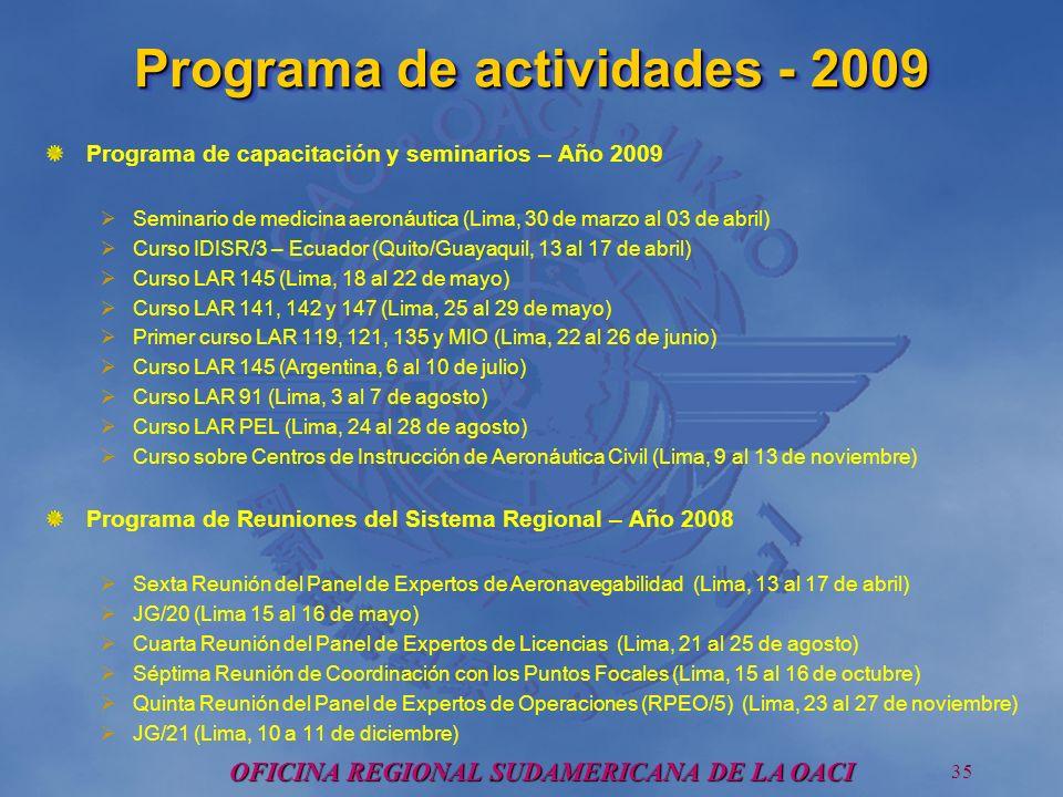 OFICINA REGIONAL SUDAMERICANA DE LA OACI 35 Programa de actividades - 2009 Programa de capacitación y seminarios – Año 2009 Seminario de medicina aeronáutica (Lima, 30 de marzo al 03 de abril) Curso IDISR/3 – Ecuador (Quito/Guayaquil, 13 al 17 de abril) Curso LAR 145 (Lima, 18 al 22 de mayo) Curso LAR 141, 142 y 147 (Lima, 25 al 29 de mayo) Primer curso LAR 119, 121, 135 y MIO (Lima, 22 al 26 de junio) Curso LAR 145 (Argentina, 6 al 10 de julio) Curso LAR 91 (Lima, 3 al 7 de agosto) Curso LAR PEL (Lima, 24 al 28 de agosto) Curso sobre Centros de Instrucción de Aeronáutica Civil (Lima, 9 al 13 de noviembre) Programa de Reuniones del Sistema Regional – Año 2008 Sexta Reunión del Panel de Expertos de Aeronavegabilidad (Lima, 13 al 17 de abril) JG/20 (Lima 15 al 16 de mayo) Cuarta Reunión del Panel de Expertos de Licencias (Lima, 21 al 25 de agosto) Séptima Reunión de Coordinación con los Puntos Focales (Lima, 15 al 16 de octubre) Quinta Reunión del Panel de Expertos de Operaciones (RPEO/5) (Lima, 23 al 27 de noviembre) JG/21 (Lima, 10 a 11 de diciembre)