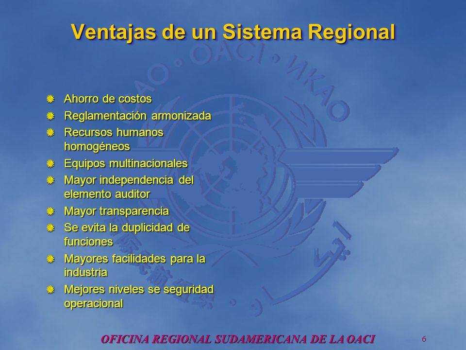 OFICINA REGIONAL SUDAMERICANA DE LA OACI 7 SISTEMA REGIONAL PARA LA VIGILANCIA DE LA SEGURIDAD OPERACIONAL (SRVOP) Objetivo: Establecer y operar un Sistema regional para la vigilancia de la seguridad operacional en Latino America, con el soporte técnico, logístico y administrativo requerido.