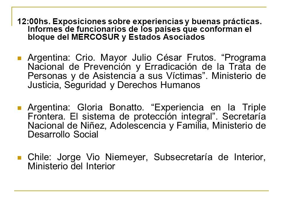 12:00hs. Exposiciones sobre experiencias y buenas prácticas.