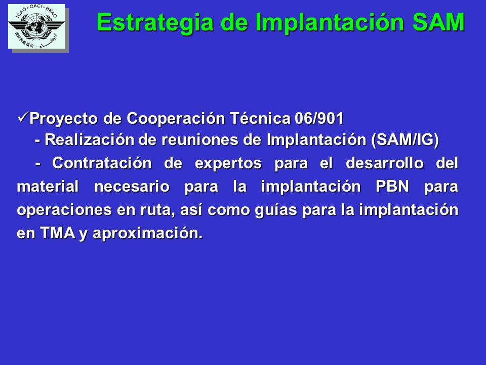 Estrategia de Implantación SAM Estrategia de Implantación SAM Proyecto de Cooperación Técnica 06/901 Proyecto de Cooperación Técnica 06/901 - Realización de reuniones de Implantación (SAM/IG) - Realización de reuniones de Implantación (SAM/IG) - Contratación de expertos para el desarrollo del material necesario para la implantación PBN para operaciones en ruta, así como guías para la implantación en TMA y aproximación.