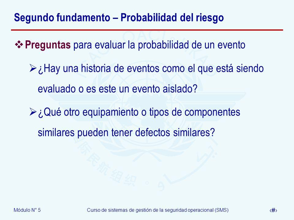 Módulo N° 5Curso de sistemas de gestión de la seguridad operacional (SMS) 11 Segundo fundamento – Probabilidad del riesgo Preguntas para evaluar la probabilidad de un evento ¿Hay una historia de eventos como el que está siendo evaluado o es este un evento aislado.