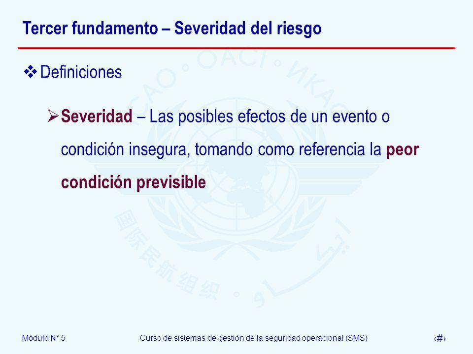 Módulo N° 5Curso de sistemas de gestión de la seguridad operacional (SMS) 14 Tercer fundamento – Severidad del riesgo Definiciones Severidad – Las posibles efectos de un evento o condición insegura, tomando como referencia la peor condición previsible