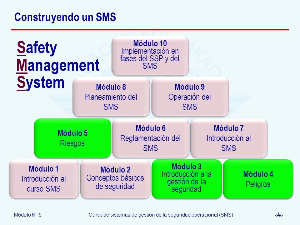 Módulo N° 5Curso de sistemas de gestión de la seguridad operacional (SMS) 2 Construyendo un SMS Módulo 1 Introducción al curso SMS Módulo 2 Conceptos básicos de seguridad Módulo 3 Introducción a la gestión de la seguridad Módulo 4 Peligros Módulo 5 Riesgos Módulo 6 Reglamentación del SMS Módulo 7 Introducción al SMS Módulo 8 Planeamiento del SMS Módulo 9 Operación del SMS Módulo 10 Implementación en fases del SSP y del SMS Safety Management System Módulo 3 Introducción a la gestión de la seguridad Módulo 4 Peligros Módulo 5 Riesgos