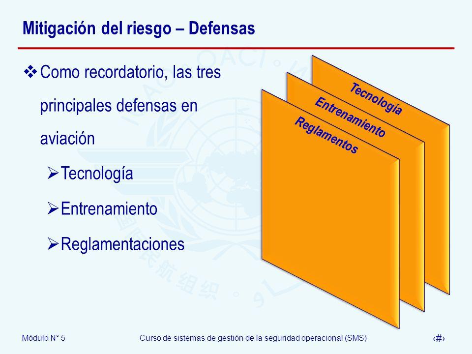 Módulo N° 5Curso de sistemas de gestión de la seguridad operacional (SMS) 26 Mitigación del riesgo – Defensas Como recordatorio, las tres principales defensas en aviación Tecnología Entrenamiento Reglamentaciones Tecnología Entrenamiento Reglamentos