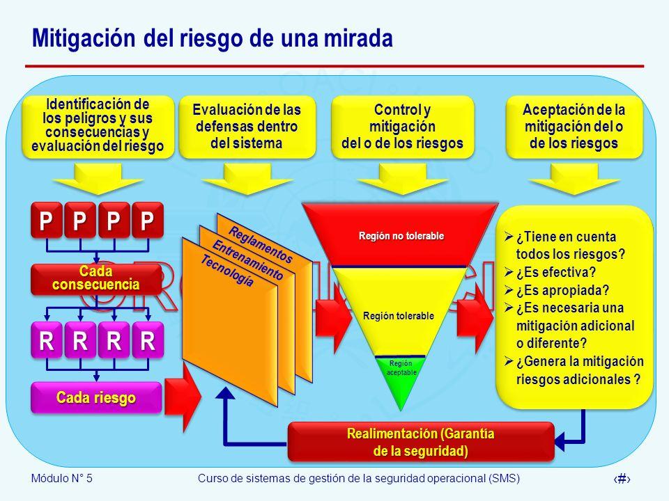 Módulo N° 5Curso de sistemas de gestión de la seguridad operacional (SMS) 28 Realimentación (Garantía de la seguridad) Realimentación (Garantía de la seguridad) Identificación de los peligros y sus consecuencias y evaluación del riesgo Identificación de los peligros y sus consecuencias y evaluación del riesgo Evaluación de las defensas dentro del sistema Evaluación de las defensas dentro del sistema Control y mitigación del o de los riesgos Control y mitigación del o de los riesgos Aceptación de la mitigación del o de los riesgos Aceptación de la mitigación del o de los riesgos ¿Tiene en cuenta todos los riesgos.
