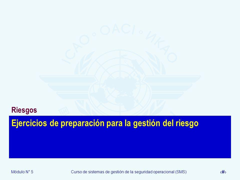Módulo N° 5Curso de sistemas de gestión de la seguridad operacional (SMS) 31 Ejercicios de preparación para la gestión del riesgo Riesgos