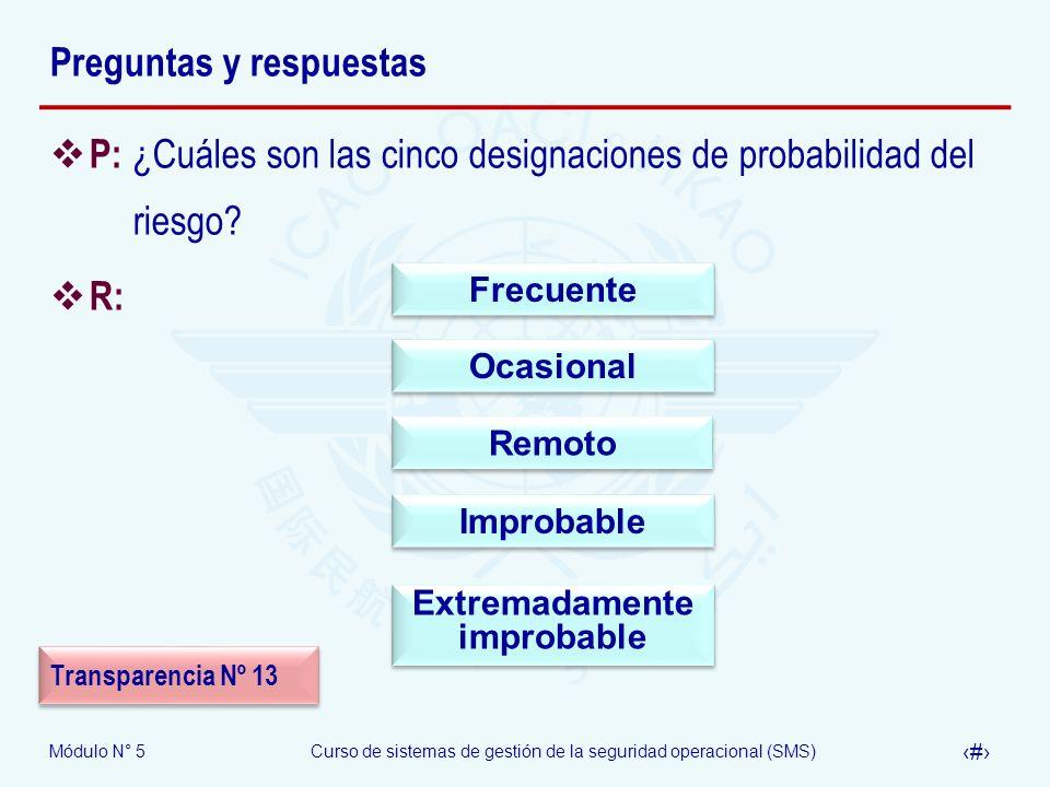 Módulo N° 5Curso de sistemas de gestión de la seguridad operacional (SMS) 46 Preguntas y respuestas P: ¿Cuáles son las cinco designaciones de probabilidad del riesgo.