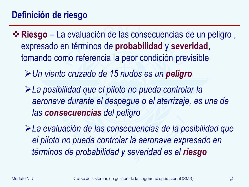 Módulo N° 5Curso de sistemas de gestión de la seguridad operacional (SMS) 5 Definición de riesgo Riesgo – La evaluación de las consecuencias de un peligro, expresado en términos de probabilidad y severidad, tomando como referencia la peor condición previsible Un viento cruzado de 15 nudos es un peligro La posibilidad que el piloto no pueda controlar la aeronave durante el despegue o el aterrizaje, es una de las consecuencias del peligro La evaluación de las consecuencias de la posibilidad que el piloto no pueda controlar la aeronave expresado en términos de probabilidad y severidad es el riesgo