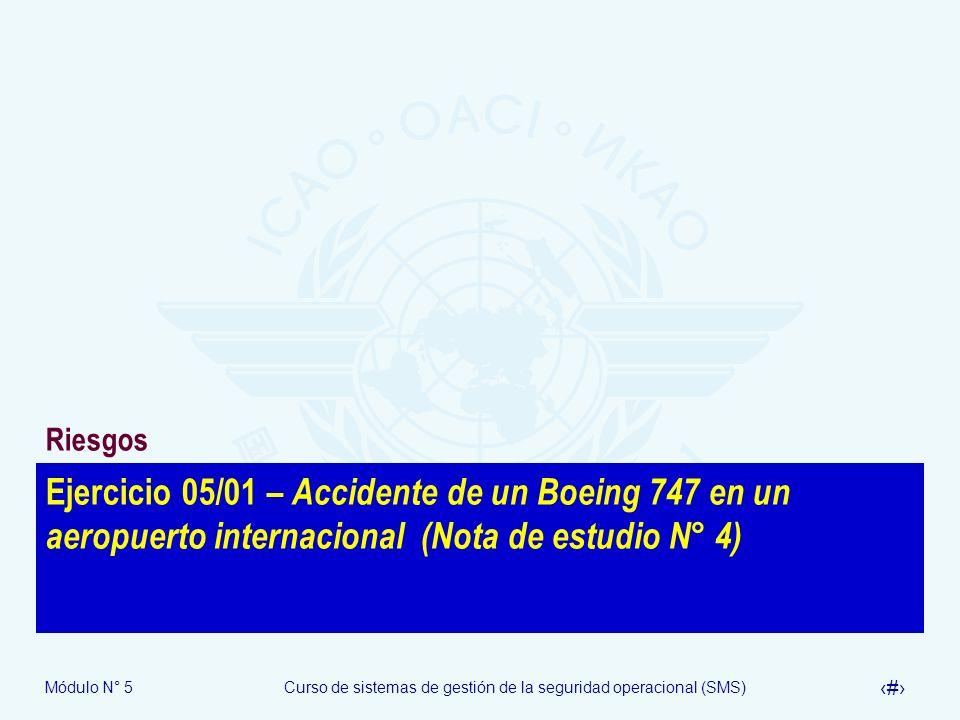 Módulo N° 5Curso de sistemas de gestión de la seguridad operacional (SMS) 51 Ejercicio 05/01 – Accidente de un Boeing 747 en un aeropuerto internacional (Nota de estudio N° 4) Riesgos