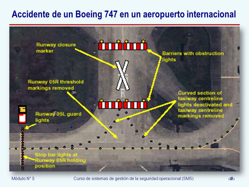 Módulo N° 5Curso de sistemas de gestión de la seguridad operacional (SMS) 57 Accidente de un Boeing 747 en un aeropuerto internacional