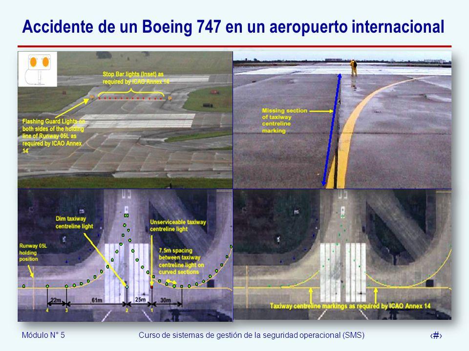 Módulo N° 5Curso de sistemas de gestión de la seguridad operacional (SMS) 58 Accidente de un Boeing 747 en un aeropuerto internacional