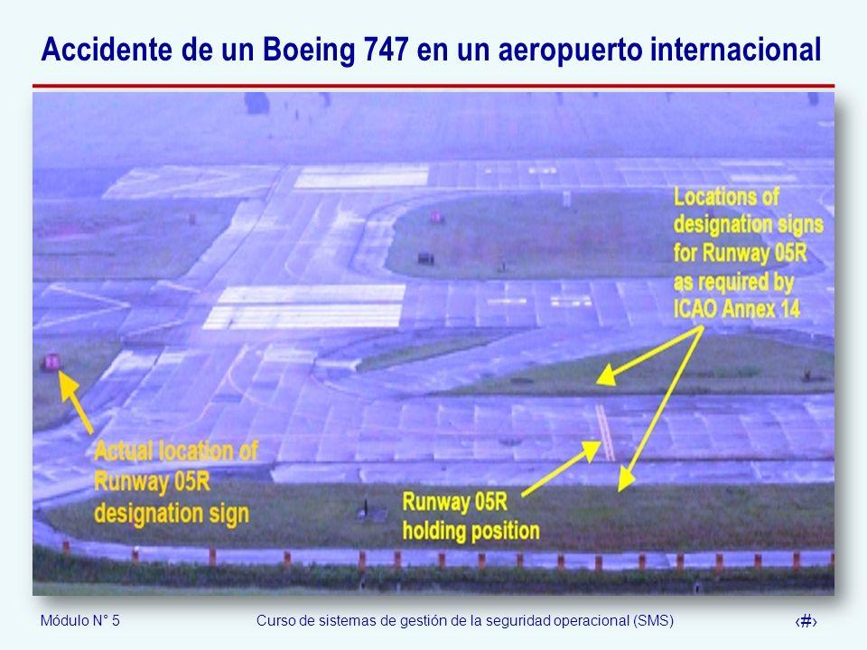 Módulo N° 5Curso de sistemas de gestión de la seguridad operacional (SMS) 59 Accidente de un Boeing 747 en un aeropuerto internacional
