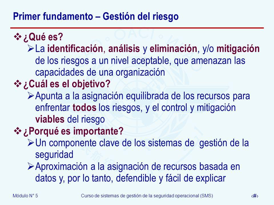 Módulo N° 5Curso de sistemas de gestión de la seguridad operacional (SMS) 6 Primer fundamento – Gestión del riesgo ¿Qué es.
