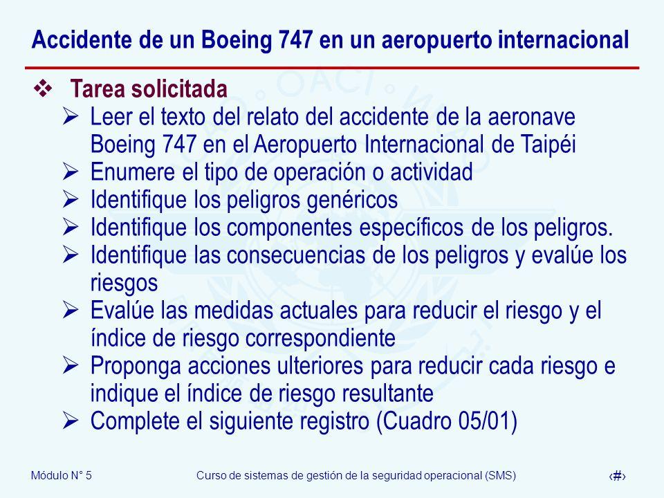 Módulo N° 5Curso de sistemas de gestión de la seguridad operacional (SMS) 60 Accidente de un Boeing 747 en un aeropuerto internacional Tarea solicitada Leer el texto del relato del accidente de la aeronave Boeing 747 en el Aeropuerto Internacional de Taipéi Enumere el tipo de operación o actividad Identifique los peligros genéricos Identifique los componentes específicos de los peligros.