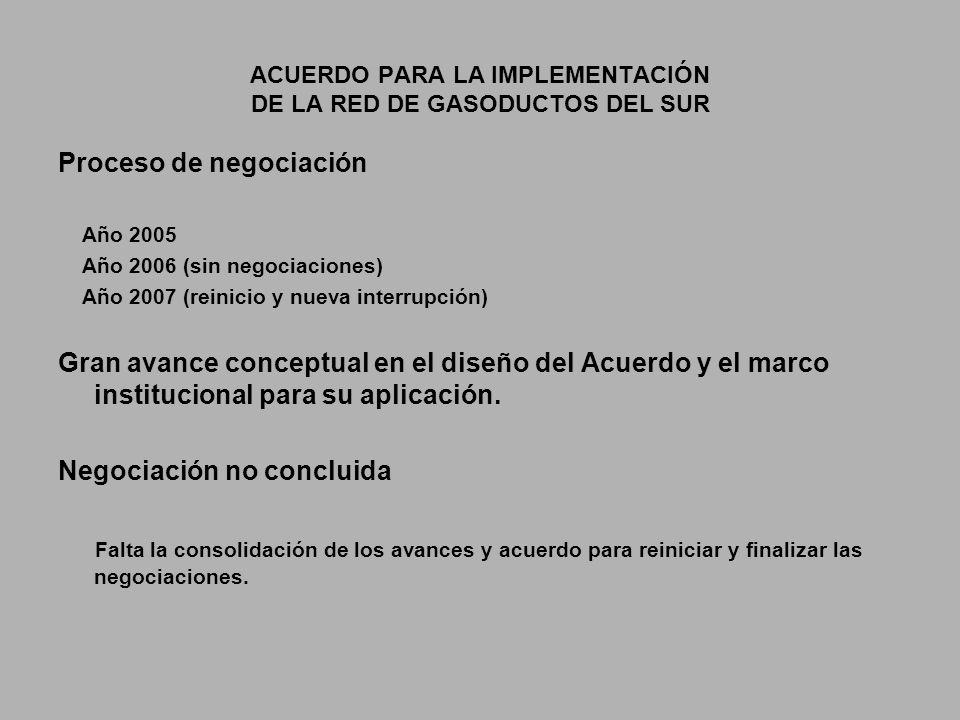 ACUERDO PARA LA IMPLEMENTACIÓN DE LA RED DE GASODUCTOS DEL SUR Proceso de negociación Año 2005 Año 2006 (sin negociaciones) Año 2007 (reinicio y nueva interrupción) Gran avance conceptual en el diseño del Acuerdo y el marco institucional para su aplicación.
