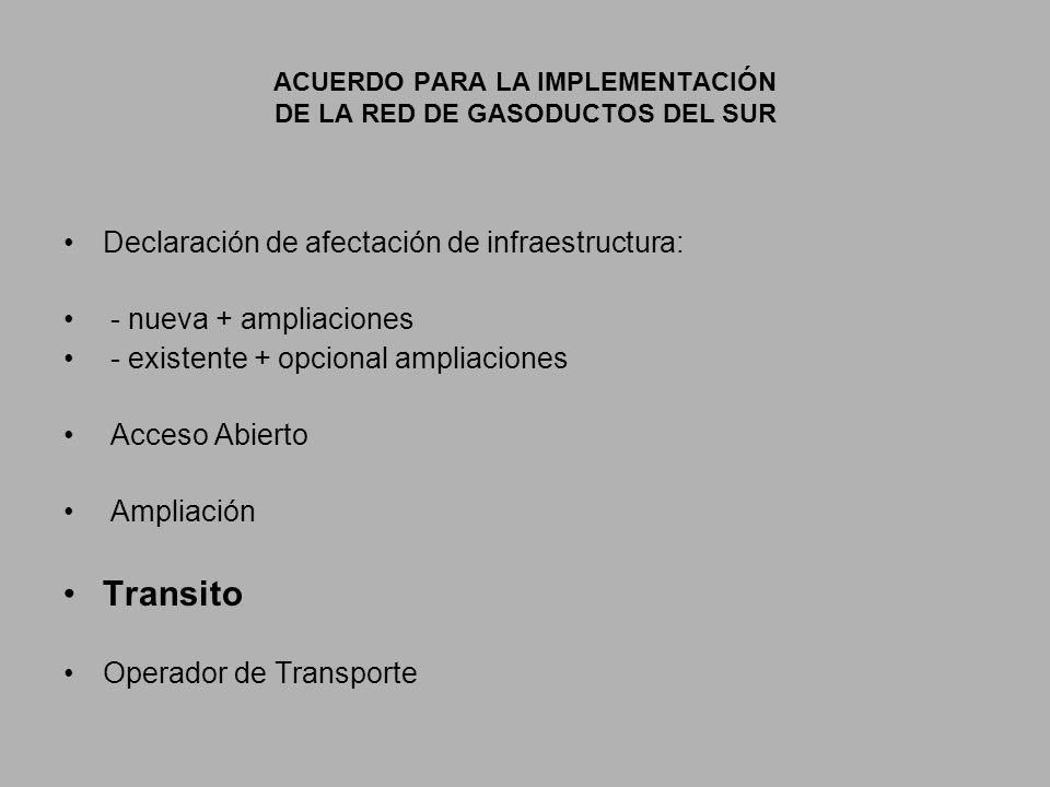 ACUERDO PARA LA IMPLEMENTACIÓN DE LA RED DE GASODUCTOS DEL SUR Declaración de afectación de infraestructura: - nueva + ampliaciones - existente + opcional ampliaciones Acceso Abierto Ampliación Transito Operador de Transporte