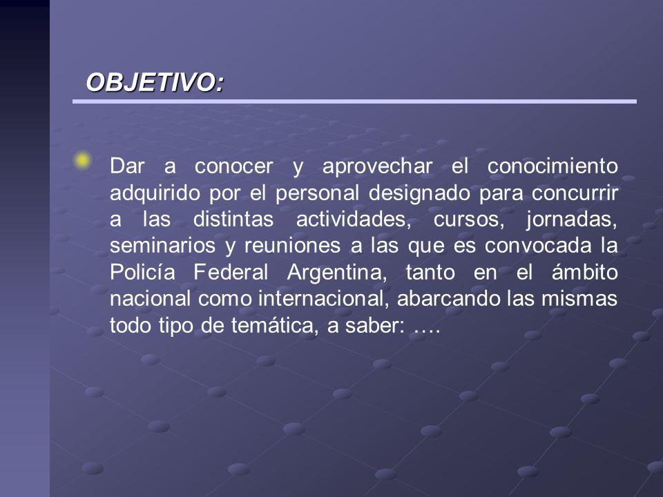 El personal concurrente elaborara un informe completo dentro de los VEINTE (20) días de finalizado el evento.