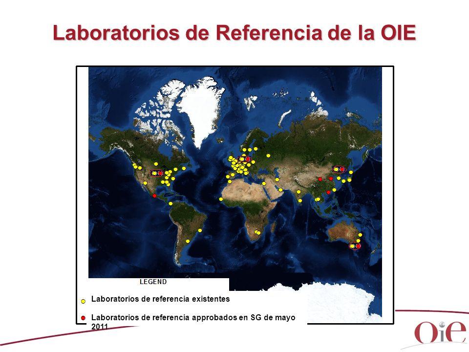Laboratorios de Referencia de la OIE Laboratorios de referencia existentes Laboratorios de referencia approbados en SG de mayo 2011