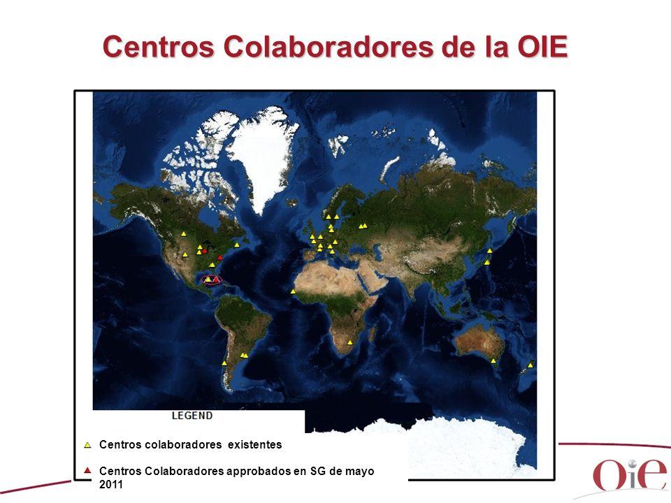 Centros Colaboradores de la OIE Centros colaboradores existentes Centros Colaboradores approbados en SG de mayo 2011