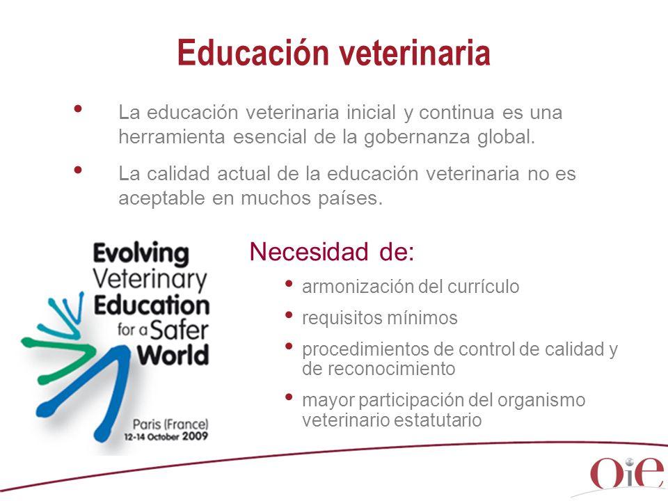 La educación veterinaria inicial y continua es una herramienta esencial de la gobernanza global. La calidad actual de la educación veterinaria no es a