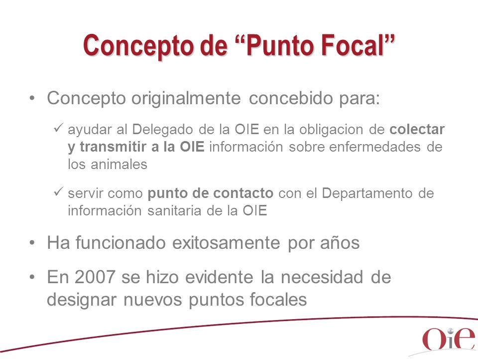 Concepto de Punto Focal Concepto originalmente concebido para: ayudar al Delegado de la OIE en la obligacion de colectar y transmitir a la OIE informa