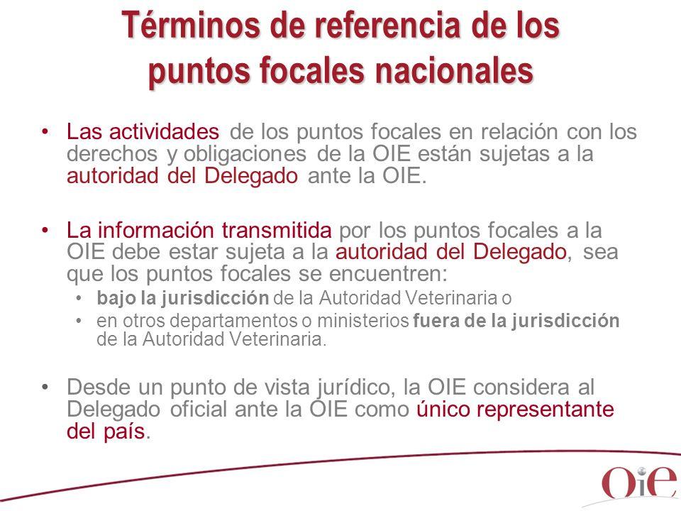 Términos de referencia de los puntos focales nacionales Las actividades de los puntos focales en relación con los derechos y obligaciones de la OIE es