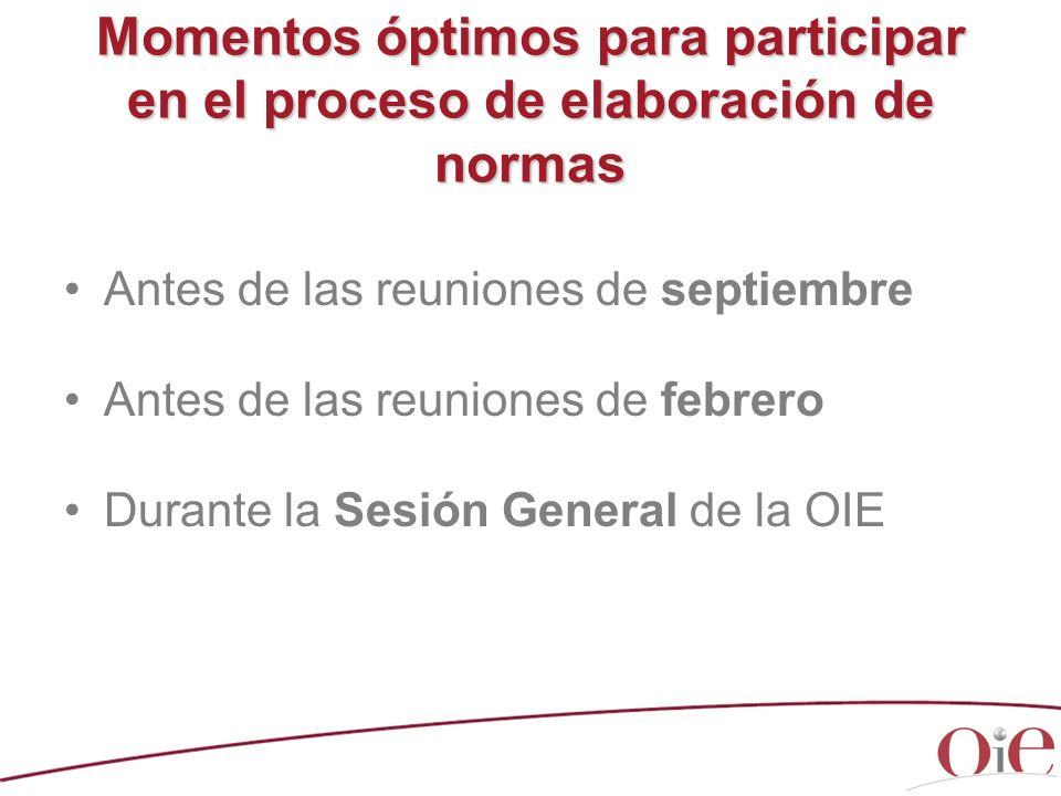 Momentos óptimos para participar en el proceso de elaboración de normas Antes de las reuniones de septiembre Antes de las reuniones de febrero Durante