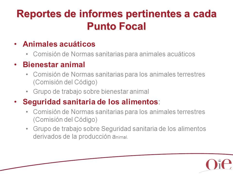 Reportes de informes pertinentes a cada Punto Focal Animales acuáticos Comisión de Normas sanitarias para animales acuáticos Bienestar animal Comisión