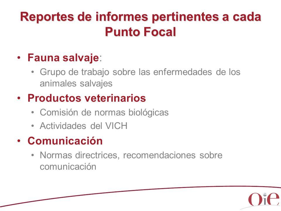 Reportes de informes pertinentes a cada Punto Focal Fauna salvaje: Grupo de trabajo sobre las enfermedades de los animales salvajes Productos veterina