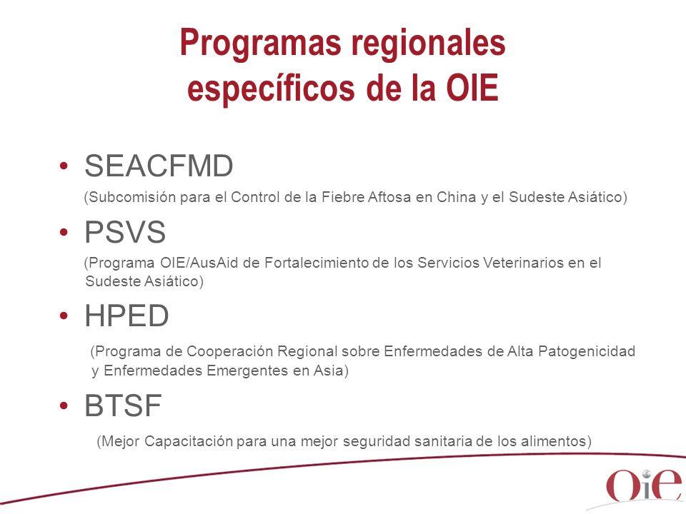 Programas regionales específicos de la OIE SEACFMD (Subcomisión para el Control de la Fiebre Aftosa en China y el Sudeste Asiático) PSVS (Programa OIE