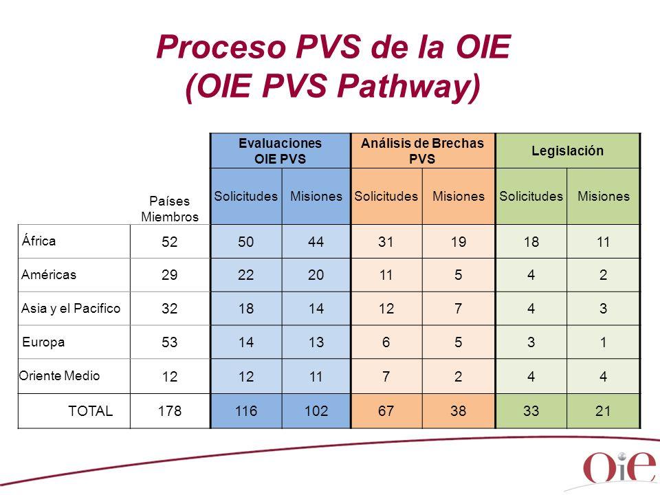 Proceso PVS de la OIE (OIE PVS Pathway) Países Miembros Evaluaciones OIE PVS Análisis de Brechas PVS Legislación SolicitudesMisionesSolicitudesMisione