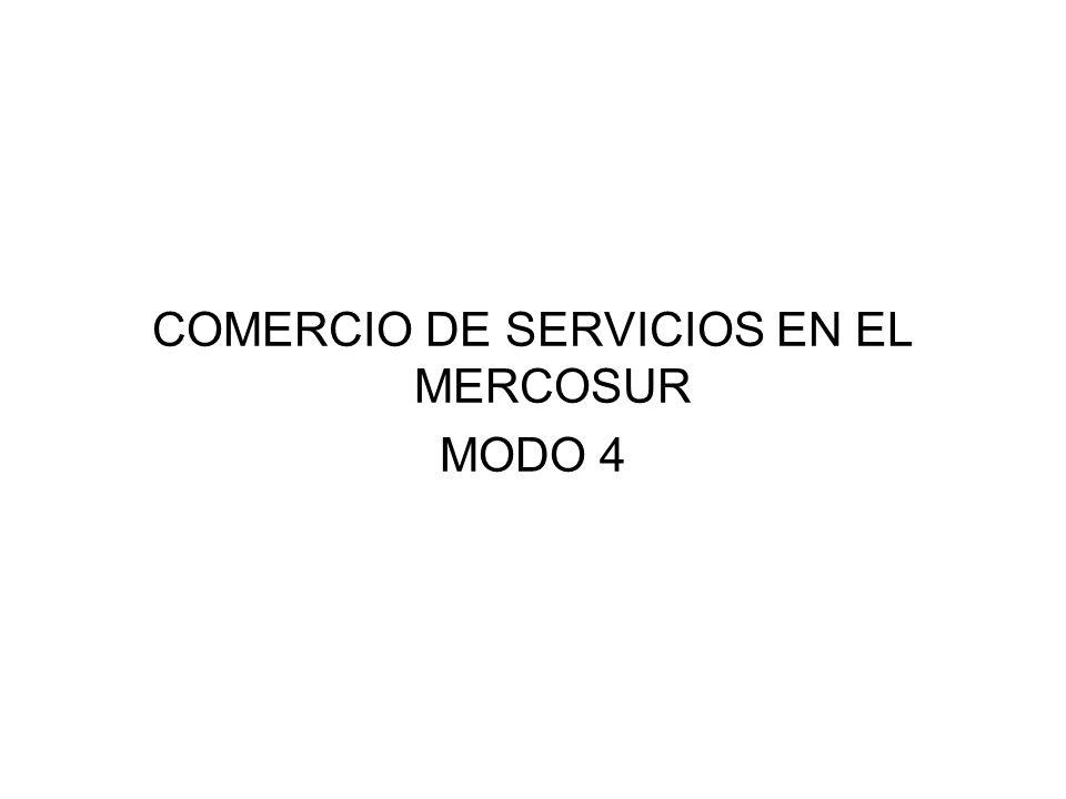 COMERCIO DE SERVICIOS EN EL MERCOSUR MODO 4