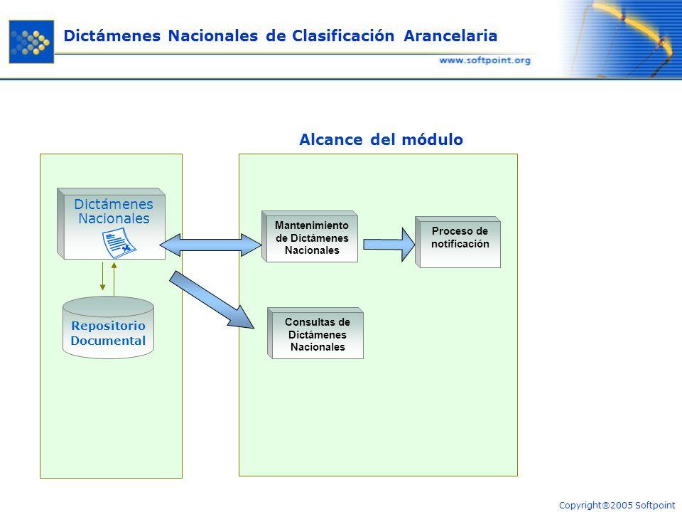 Copyright®2005 Softpoint La implementación de este módulo consiste en permitir el ingreso al Gestor de los Dictámenes Nacionales de Clasificación Arancelaria de cada Estado Parte.