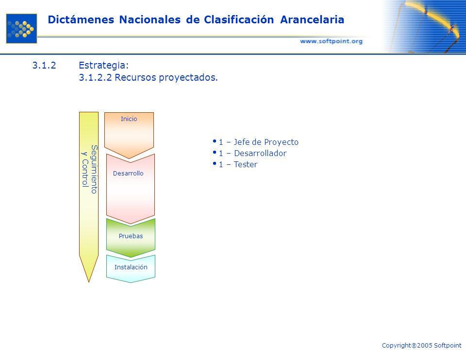 Copyright®2005 Softpoint Dictámenes Nacionales de Clasificación Arancelaria 3.1.2Estrategia: 3.1.2.2 Recursos proyectados.
