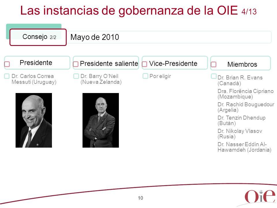 Mayo de 2010 Las instancias de gobernanza de la OIE 4/13 10 Consejo 2/2 Presidente Dr. Carlos Correa Messuti (Uruguay) Presidente saliente Dr. Barry O