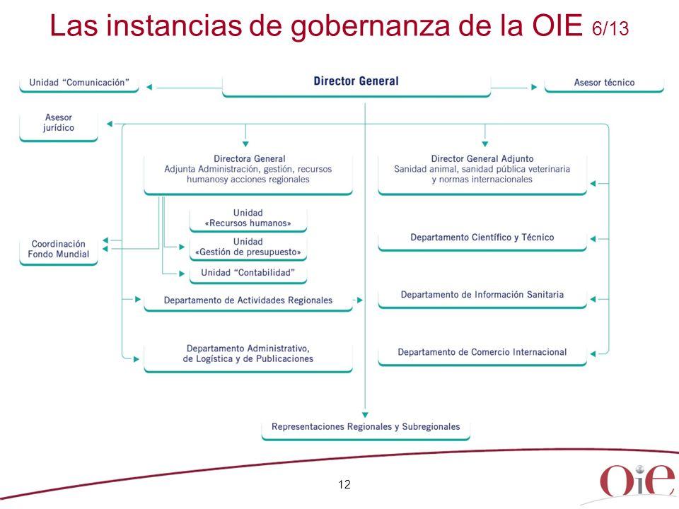 12 Las instancias de gobernanza de la OIE 6/13