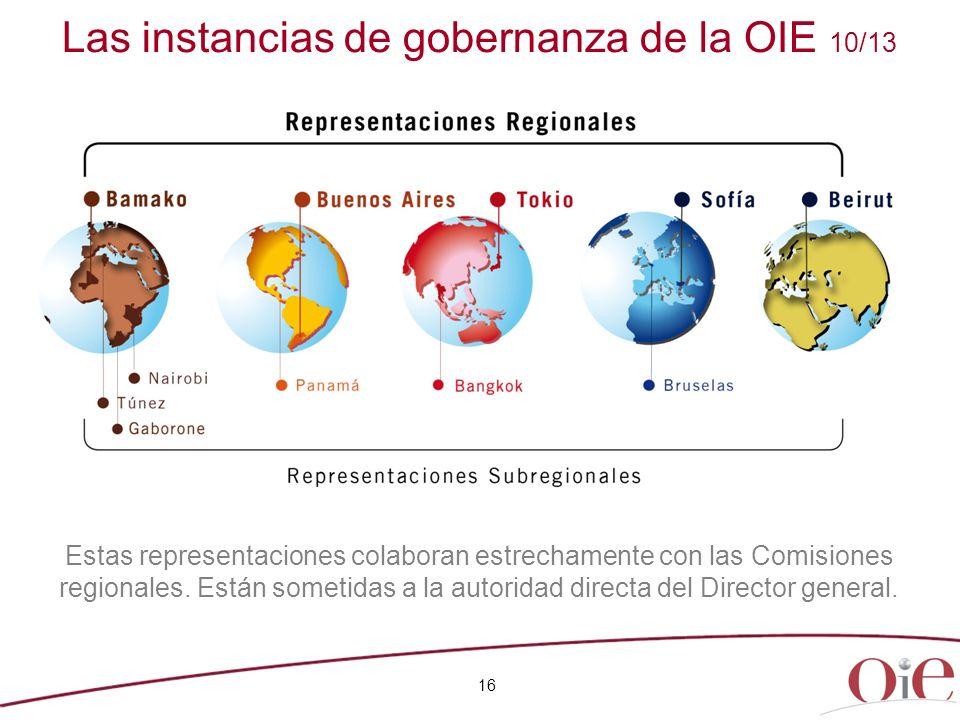 16 Estas representaciones colaboran estrechamente con las Comisiones regionales. Están sometidas a la autoridad directa del Director general. Las inst