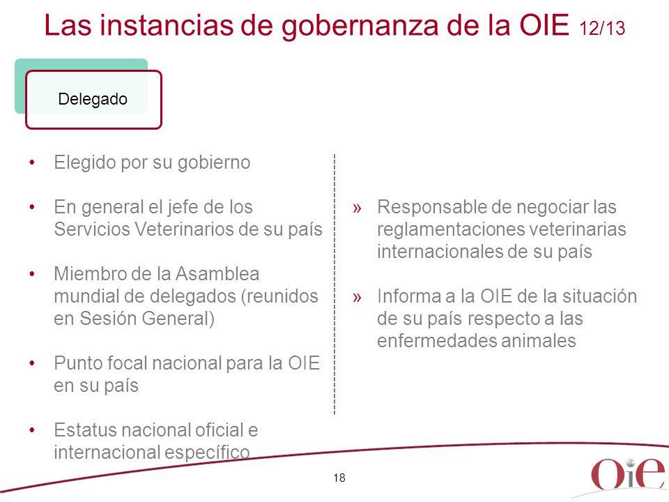 Las instancias de gobernanza de la OIE 12/13 18 Elegido por su gobierno En general el jefe de los Servicios Veterinarios de su país Miembro de la Asam