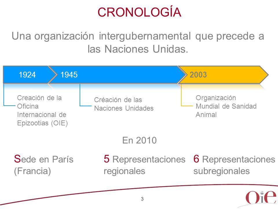 CRONOLOGÍA S ede en París (Francia) 5 Representaciones regionales 6 Representaciones subregionales Una organización intergubernamental que precede a l