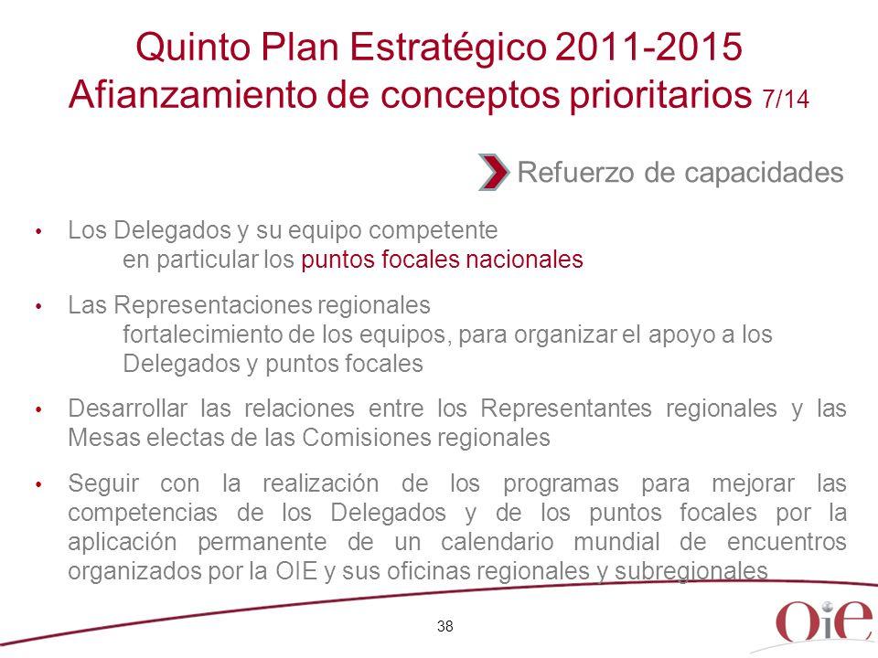 38 Quinto Plan Estratégico 2011-2015 Afianzamiento de conceptos prioritarios 7/14 Los Delegados y su equipo competente en particular los puntos focale
