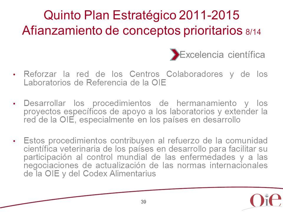 39 Quinto Plan Estratégico 2011-2015 Afianzamiento de conceptos prioritarios 8/14 Reforzar la red de los Centros Colaboradores y de los Laboratorios d