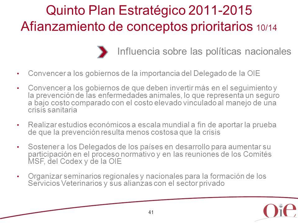 41 Quinto Plan Estratégico 2011-2015 Afianzamiento de conceptos prioritarios 10/14 Convencer a los gobiernos de la importancia del Delegado de la OIE