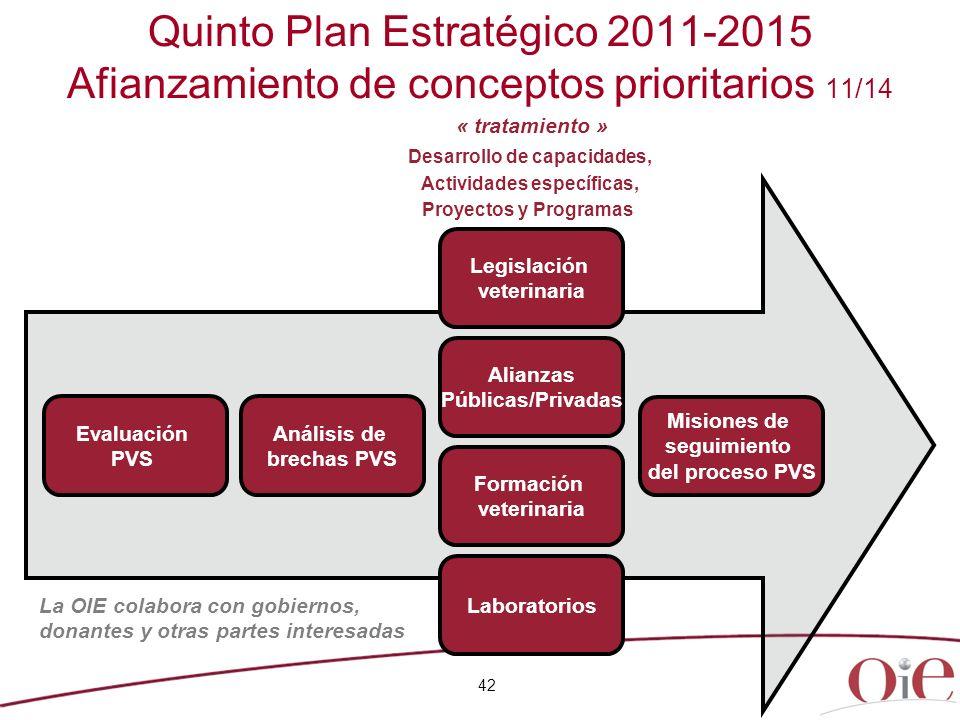 42 Quinto Plan Estratégico 2011-2015 Afianzamiento de conceptos prioritarios 11/14 Desarrollo de capacidades, Actividades específicas, Proyectos y Pro
