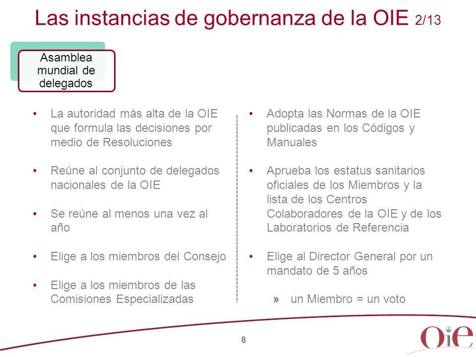 Las instancias de gobernanza de la OIE 2/13 8 La autoridad más alta de la OIE que formula las decisiones por medio de Resoluciones Reúne al conjunto d