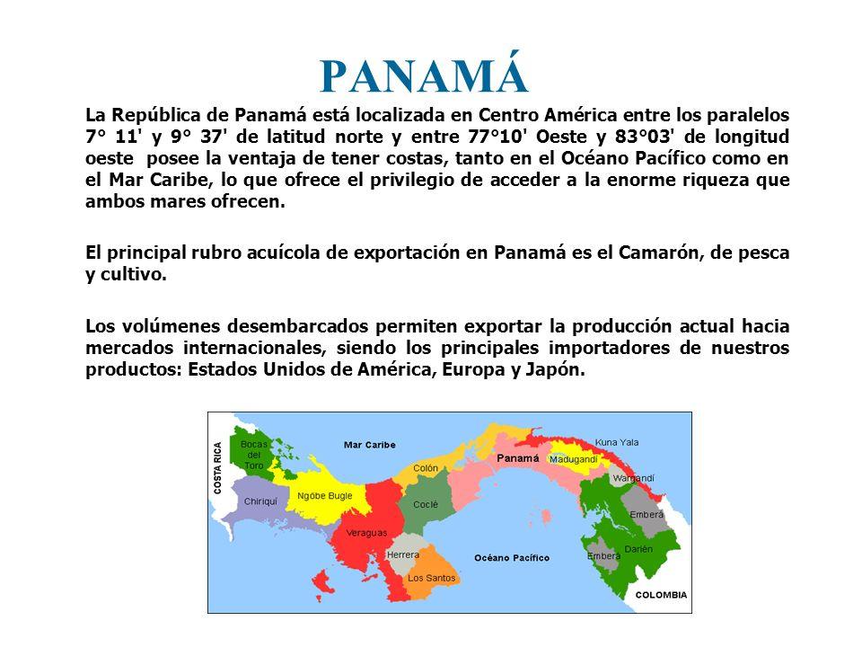 PANAMÁ La República de Panamá está localizada en Centro América entre los paralelos 7° 11' y 9° 37' de latitud norte y entre 77°10' Oeste y 83°03' de