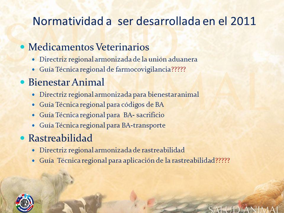 Normatividad a ser desarrollada en el 2011 Medicamentos Veterinarios Directriz regional armonizada de la unión aduanera Guía Técnica regional de farmo
