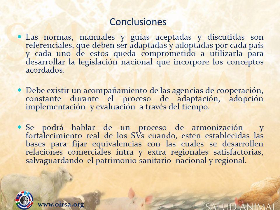 Conclusiones Las normas, manuales y guías aceptadas y discutidas son referenciales, que deben ser adaptadas y adoptadas por cada país y cada uno de es