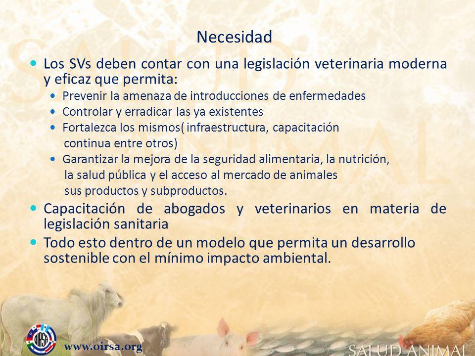 Necesidad Los SVs deben contar con una legislación veterinaria moderna y eficaz que permita: Prevenir la amenaza de introducciones de enfermedades Con