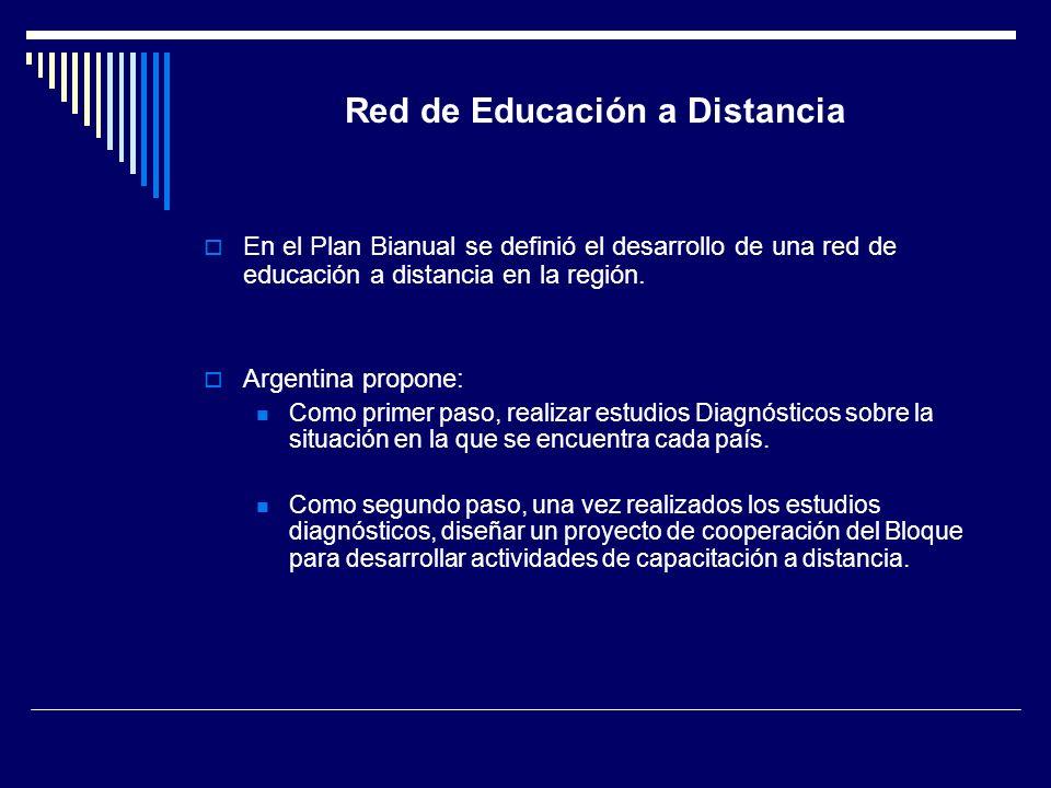 Red de Educación a Distancia En el Plan Bianual se definió el desarrollo de una red de educación a distancia en la región. Argentina propone: Como pri